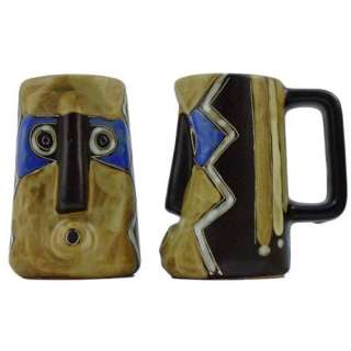 Ceramic Stoneware 15 Oz. Blue Mask Stein (Set of 2) Kitchen & Dining