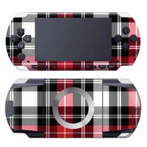Red Plaid Design Decorative Protector Skin Decal Sticker for Sony PSP