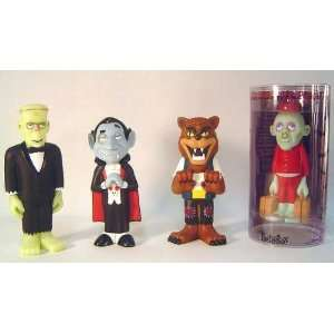 Set of 4 Mad Monster Party Figures Featuring Werewolf, Frankenstein