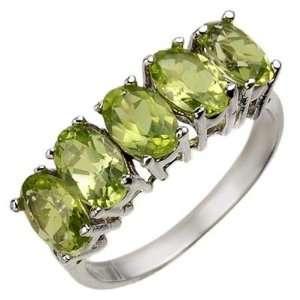 Genuine 3.0 ctw Peridot Ring 10K White Gold Jewelry