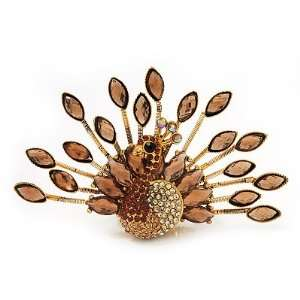 Stunning Amber/Citrine Swarovski Crystal Peacock Flex Ring In Gold