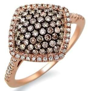 .85ct Brown Round Diamond Cocktail Ring 14k Rose Pink Gold Jewelry