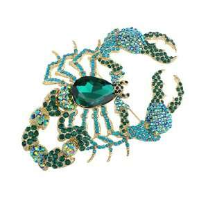 Scorpion Claws Fierce Premiere Crystal Rhinestone Brooch Jewelry