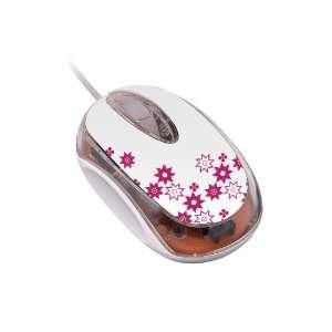 Series M1810 USB Mini Mouse   White with TeleMagenta Fleur De Lis