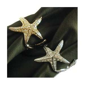LObjet 3 Gold Starfish Napkin Rings, Yellow Swarovski