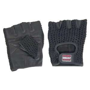 Large Mesh/Leather Gloves Black