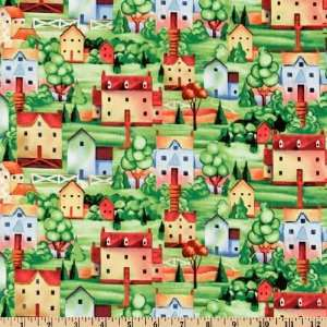 Us Houses Green/Sunshine Fabric By The Yard Arts, Crafts & Sewing