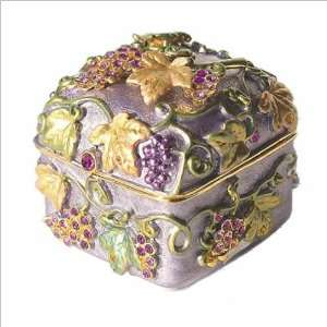 Box Swarovski Crystals Gold Jewelry Trinket Pill Grapevine Box FREE