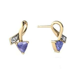 14K Yellow Gold Trillion Genuine Tanzanite Ribbon Earrings Jewelry