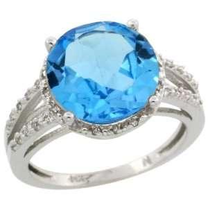 10k White Gold ( 11 mm ) Halo Engagement Swiss Blue Topaz Ring
