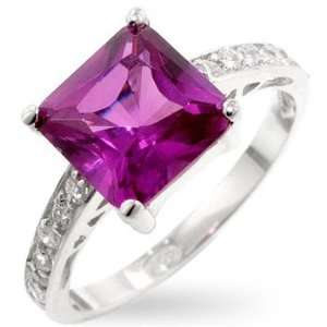 Silver Fashion Ring with Pink Sapphire CZ   .925 Silver , 7 Jewelry