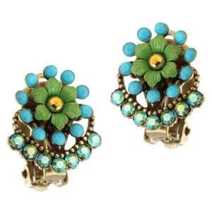 Turquoise and Gold Swarovski Crystals; Vintage Looking   Special