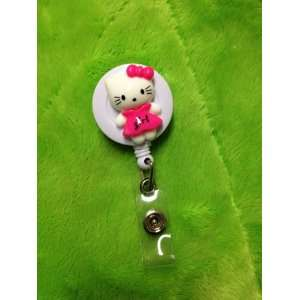 Pink Kitty Cat (3D) White Badge Reel ID Badge Holder