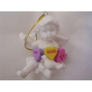 Angel Christmas Porcelain Ornament with Valentine Candy Hearts