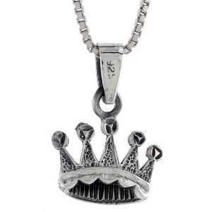 925 Sterling Silver Crown Pendant (w/ 18 Silver Chain), 7