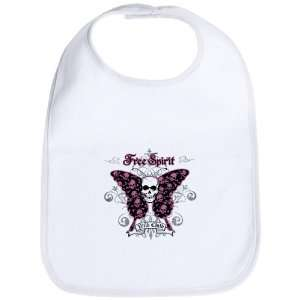 Baby Bib Cloud White Butterfly Skull Free Spirit Wild