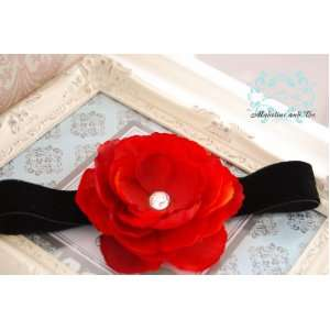 Gorgeous Red Rosette with Extra Large Swarovski Crystal on