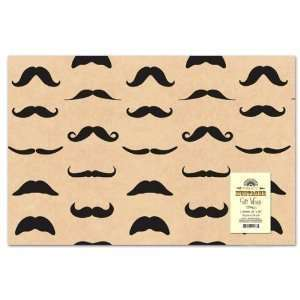 Mustache Gift Wrap Paper   2 Sheets