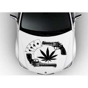 Cards Cannabis Drug Two Pistols Weapon Hood Vinyl Sticker Decals D1440