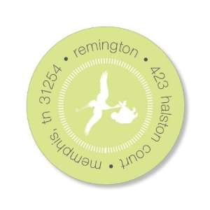 Special Delivery Lime Round Baby Shower Stickers