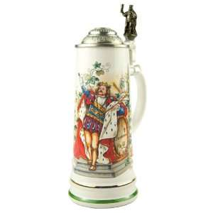 0.75 Liter Gambrinus Ceramic German Beer Stein Kitchen