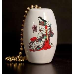 Geisha Girl Elegance Porcelain Fan / Light Pull
