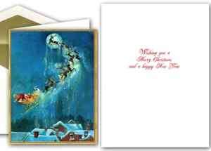 Caspari Christmas Greeting Cards   Santa in Sleigh Over Town (81312