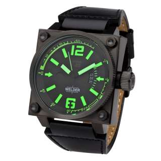 Green Index Black Ion Plated Stainless Steel Men Watch K23 1704
