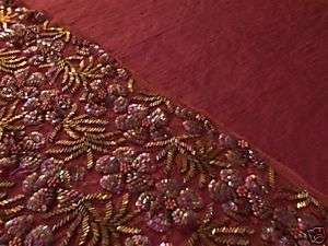 FABRIC WINE BEADED LACE FOR CAMI OR TRIM + SOLID SILK DUPIONI to MATCH