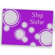 Step Sister, Birthday Wishes, white swirls, purple Greeting Cards by