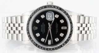 Rolex Mens Datejust Black Diamond Dial & Bezel  MINT