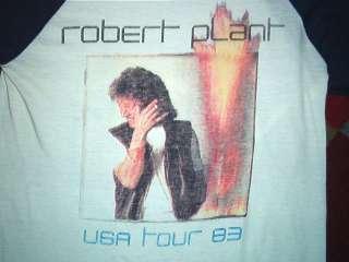 vtg ROBERT PLANT CONCERT SHIRT raglan tour jersey 80s Led Zeppelin S