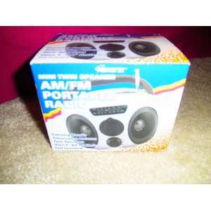 Mini Twin Speaker AM/FM Portable Radio