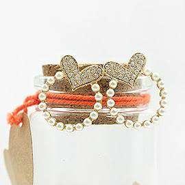 Korean Fashion Gold Color Pearl Heart Circle Earrings Z1026