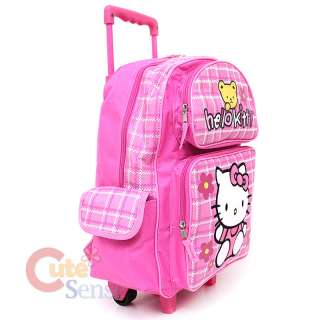 Sanrio Hello Kitty Large Rolling Backpack School Roller Bag Teddy Bear