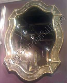 VENETIAN Bathroom WALL MIRROR Oval Silver Gold Accents Ornate Queen
