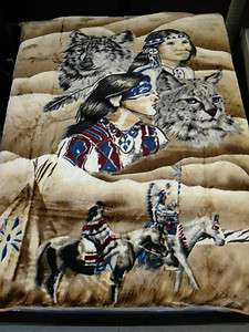 QUEEN BLANKET INDIAN WOLF BEIGE SUPER SOFT NEW FREE SHIPPING