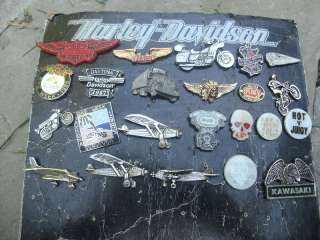 19 vintage harley davidson pin biker motorcycle big lot cast button