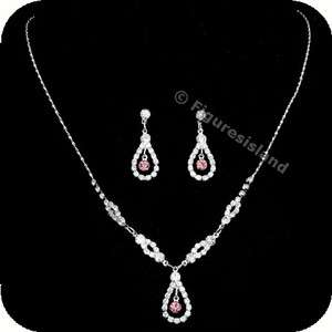 Wedding Bridesmaid Rhinestone Crystal Necklace Earrings set 1282