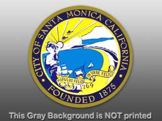 Round Santa Monica City Seal Sticker  decal beach CA US