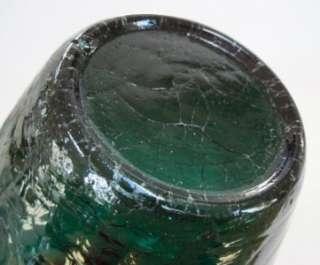 Large 10.5 Emerald Green Crackle Glass Vase
