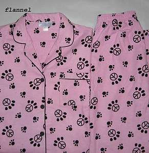 Womens Winter Flannel Pajamas Dog Cat Paw Print Peace Sign Size S M L