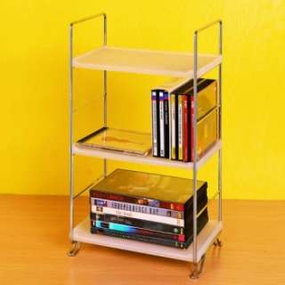 TIER WHITE DIY BOOK DVD CD MEDIA SHELF/RACK DISPLAY