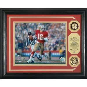 Joe Montana San Francisco Autographed Photomint with 2 Gold Coins