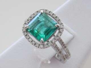 Square Emerald Cut Emerald & 14k. White Gold Diamond Ring, New