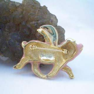 When Pigs Fly Piggy Brooch Pin w/ Red Swarovski Crystal