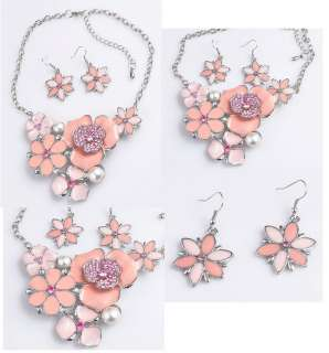 Pink Flower rhinestone Crystal necklace Earring Sets NK08