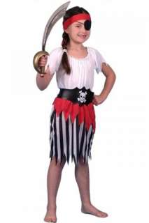 Pirate Girl Child Costume includes dress with belt and headband.