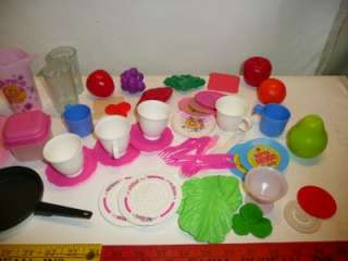 HUGE lot of kids baby play dishes Barbie Kitchen fruit food plates
