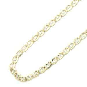 14K Two Tone Gold 2mm Mariner Link Gucci Flat Chain